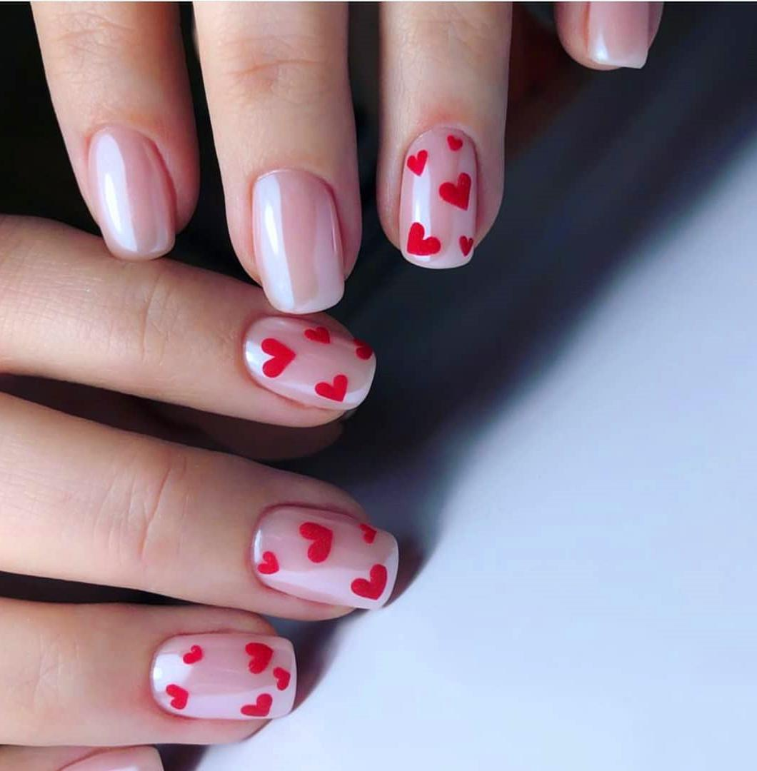 40 Heart Valentine's Day Shape Nails Art Designs Tips