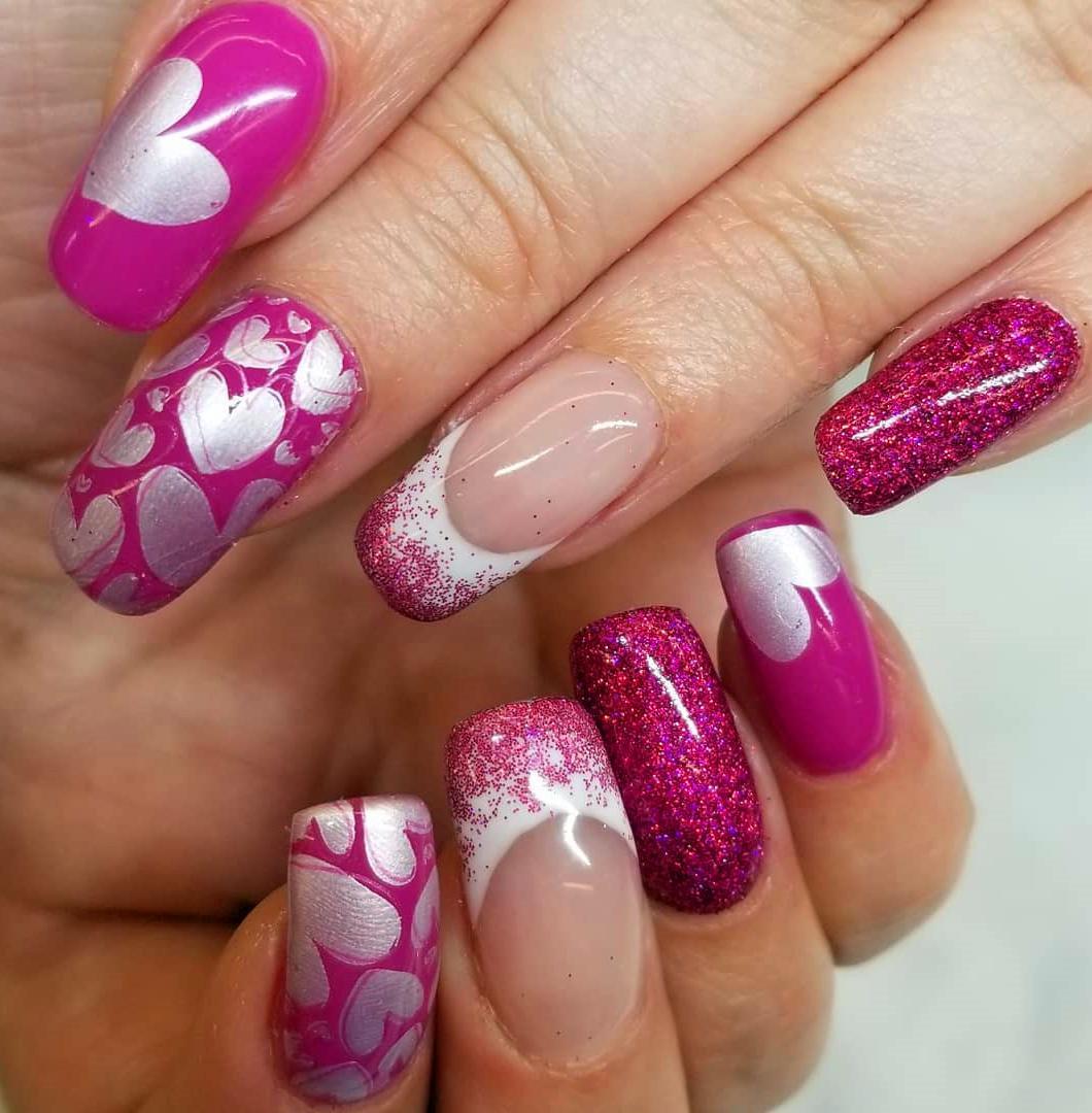 40 Heart Valentine's Day Shape Nails Art Designs Tips