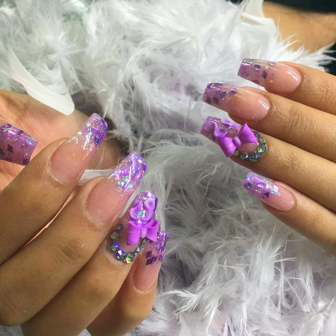 36 Acrylics Long Coffin Nails With Sparkle To Copy