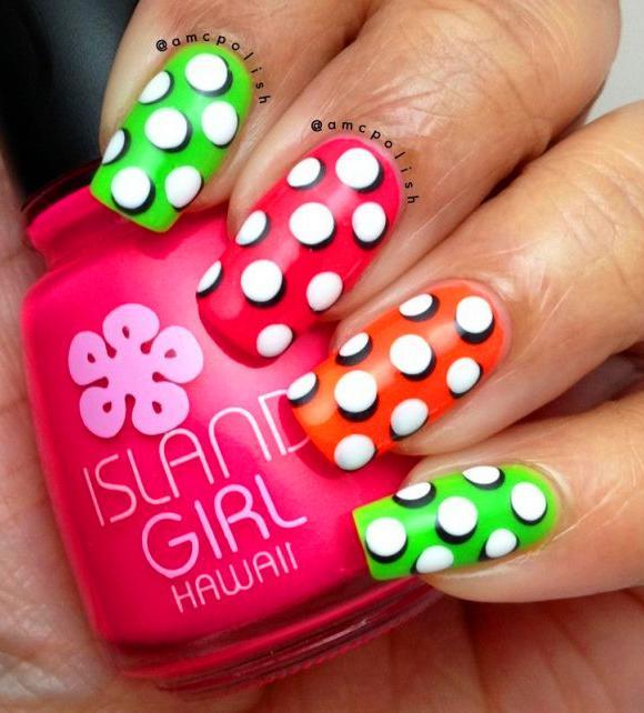 38 Cute Dotticure and Polka Dots Nail Arts Ideas