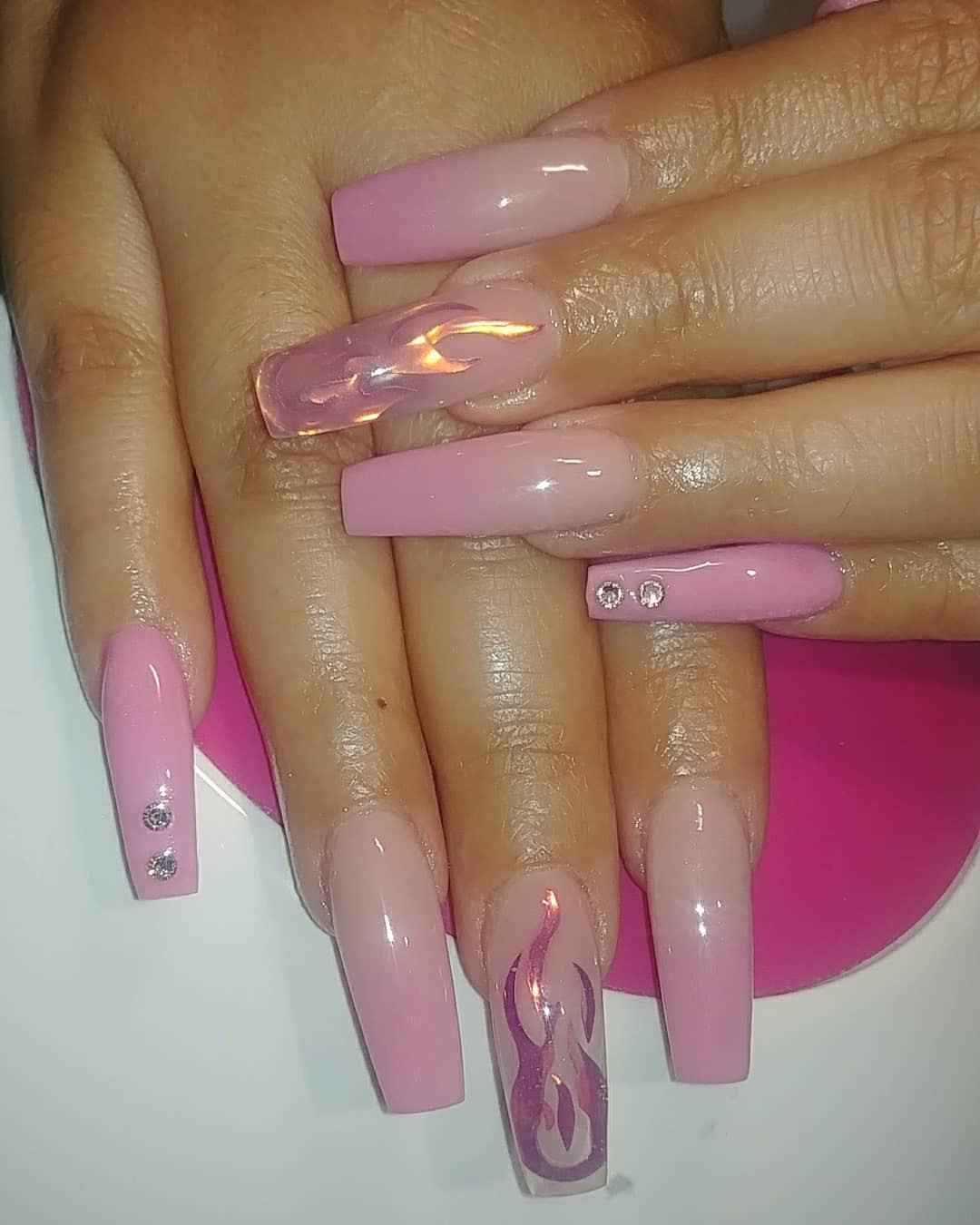 Pink Ombre Coffin Nails  Designs,ombre coffin nails,Pink Ombre Coffin Nails, Ombre Coffin Nails,Coffin Nails,Pink Nails