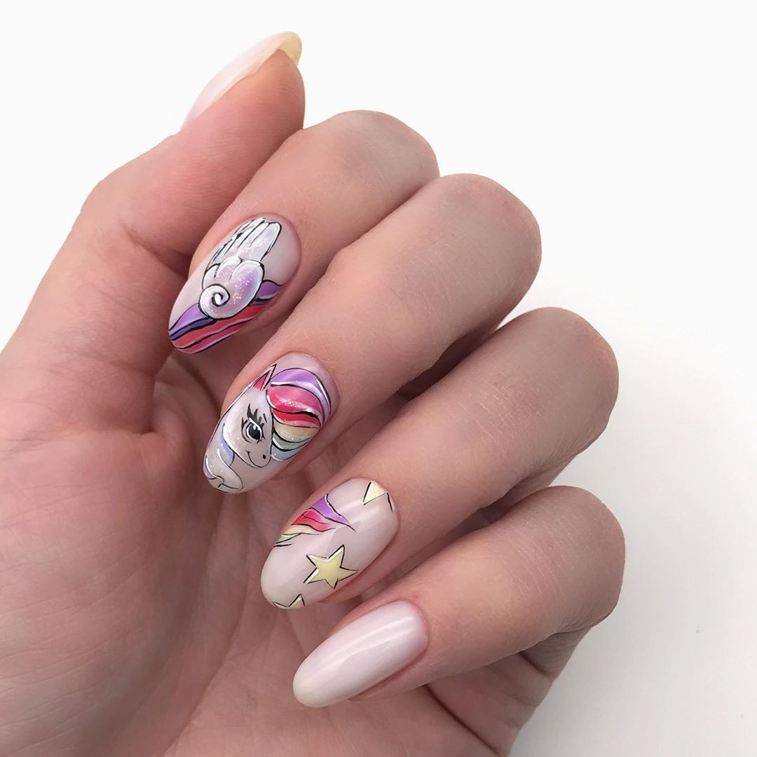 38 Magical Unicorn Nail Designs You Will Go Crazy For,unicorn nails color,unicorn nails polish,unicorn nails short,unicorn nails for kids,unicorn nails short